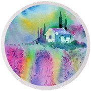 The House By The Lavender Field Round Beach Towel
