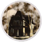 The House From Psycho Round Beach Towel