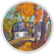 The House In Chervonka Village Round Beach Towel