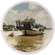 The Houseboat Round Beach Towel