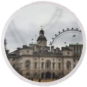 The Household Cavalry Museum Abstract London Abstract Round Beach Towel