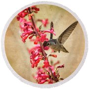 The Hummingbird And The Spring Flowers  Round Beach Towel