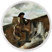The Hunter And His Dogs Round Beach Towel by Winslow Homer