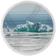 The Ice Elephant Of Silver Islet Round Beach Towel