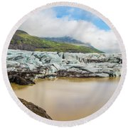 The Ice Wall Iceland Round Beach Towel