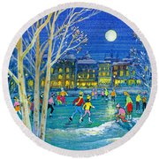 The Iceskaters Round Beach Towel