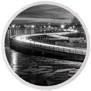 The Icy Charles River At Night Boston Ma Cambridge Black And White Round Beach Towel
