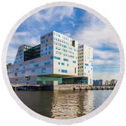 The Ij-dock In Amsterdam  Round Beach Towel