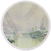 The Ile Lacroix Under Snow Round Beach Towel by Albert Charles Lebourg