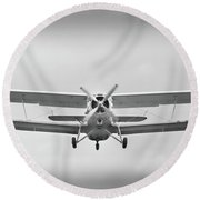 The Image Of A Sport Propeller Airplane In The Sky. Round Beach Towel