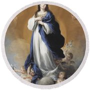 The Immaculate Conception  Round Beach Towel by Bartolome Esteban Murillo