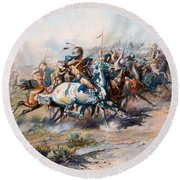 The Indian Encirclement Of General Custer At The Battle Of The Little Big Horn Round Beach Towel