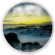 The Infinite Spirit  Tranquil Island Of Twilight Maui Hawaii  Round Beach Towel