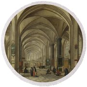 The Interior Of A Gothic Church Looking East   Round Beach Towel