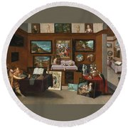The Interior Of A Picture Gallery With Connoisseurs Admiring Paintings Round Beach Towel