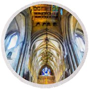 The Interior Of The Southwark Cathedral  Round Beach Towel