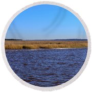 The Intracoastal Waterway In The Georgia Low Country In Winter Round Beach Towel