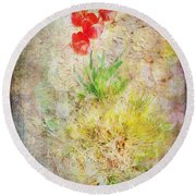 The Introverted Tulip Round Beach Towel