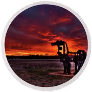 The Iron Horse Red Sky Sunset Round Beach Towel