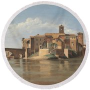 The Island And Bridge Of San Bartolomeo - Rome Round Beach Towel