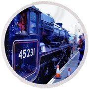 The Jacobite At Mallaig Station Platform 2 Round Beach Towel