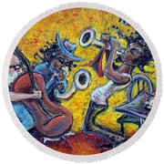 The Jazz Trio Round Beach Towel