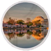 The Jefferson Memorial And Cherry Trees In Bloom Round Beach Towel
