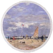 The Jetty At Deauville Round Beach Towel