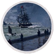 The Jetty At Le Havre In Bad Weather Round Beach Towel