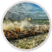 The Jetty Storm Round Beach Towel