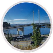 The John O'connell Bridge Is A Cable-stayed Bridge Over The Sitk Round Beach Towel
