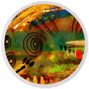 The Journey Back Home Round Beach Towel