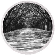 Live Oaks Lane With Shadows - Black And White Round Beach Towel