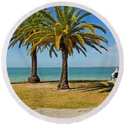 The Joy Of Sea And Palms Round Beach Towel