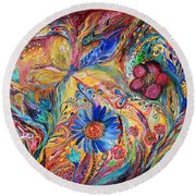 The Joyful Iris Round Beach Towel