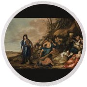 The Judgement Of Midas In The Contest Between Apollo And Pan Round Beach Towel
