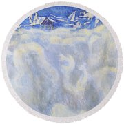 The Jung Frau Above A Sea Of Mist Round Beach Towel