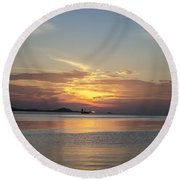 The Junk At Sunset Round Beach Towel