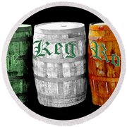 The Keg Room Irish Flag Colors Old English Hunter Green Round Beach Towel