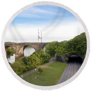 The Kelly Drive Rock Tunnel Round Beach Towel