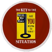 The Key To The Situation - Ww1 Round Beach Towel