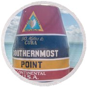 The Key West Florida Buoy Sign Marking The Southernmost Point On Round Beach Towel