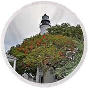 The Key West Lighthouse Round Beach Towel