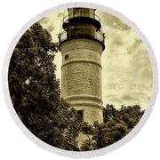 The Key West Lighthouse In Sepia Round Beach Towel