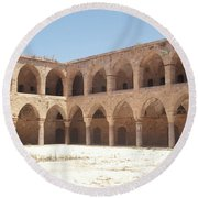The Khan, Also Known As A Caravanserai, In Akko, Israel Round Beach Towel