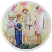 The Kids And The Kid Round Beach Towel