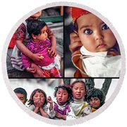 The Kids Of India Collage Round Beach Towel