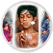 The Kids Of India Triptych Round Beach Towel