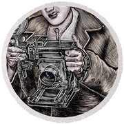 The King Of Cameras Round Beach Towel