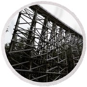 The Kinsol Trestle Panorama View On Snowy Day 1. Round Beach Towel